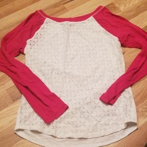 Pink sleeve lace front top